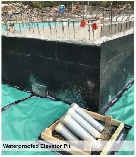 waterproofed elevator pit